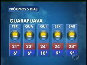 A terça-feira vai ter sol na região de Guarapuava - O dia vai ser ensolarado e com tempo seco na cidade. As temperaturas ficam mais baixas pela manhã.