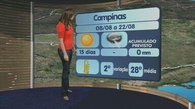 Veja a previsão do tempo para esta quarta-feira na região de Campinas - Saiba como fica a temperatura.
