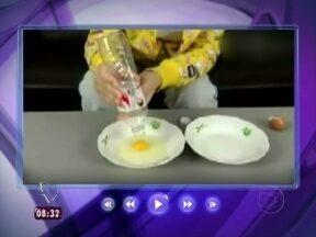 Com garrafa pet, Ana Maria mostra jeito simples para separar a gema da clara - Apresentadora se inspira em vídeo para fazer o experimento na casa de cristal