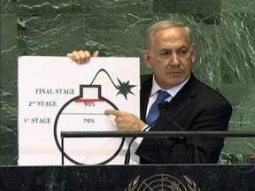 Primeiro-ministro de Israel pede prazo para impedir que Irã desenvolva armas nucleares - Ao discursar na Assembléia Geral da ONU, Benjamin Netanyahu mostrou o desenho de uma bomba. E riscou uma linha vermelha pra indicar o estágio a partir do qual não será mais possível evitar que o Irã produza uma arma nuclear.