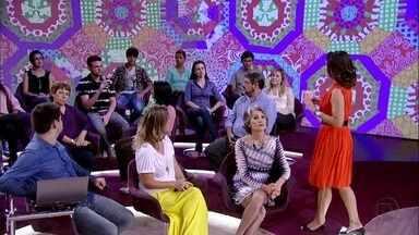 No palco concurseiros conversam com Fátima Bernardes - Eles buscam a estabilidade do concurso público