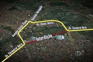 Avenida Perimetral Norte é parcialmente interditada em Goiânia - Alteração no trânsito do local deverá ser feita durante 30 dias. Motivo são obras da Saneago relacionadas à construção de um shopping.