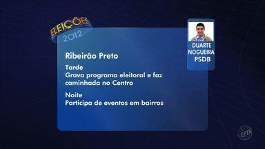 Confira a agenda desta segunda (15) dos candidatos à Prefeitura de Ribeirão Preto - Jornal da EPTV mostra compromissos de Dárcy Vera (PSD) e Duarte Nogueira (PSDB).