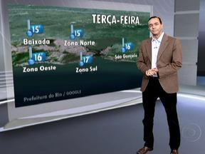 Temperatura deverá subir na terça-feira (16) - Não há previsão de chuva. A temperatura vai subir um pouco. A previsão é de 31º, nas Zonas Norte, Oeste do Rio e em São Gonçalo.