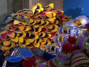 Escolas de samba se mobilizam para deixar fantasias prontas para o Carnaval 2013 - Essa é a época em que a produção de fantasias mobiliza ateliês, barracões e até as casas dos integrantes das escolas de samba. Há apenas um mês e meio para deixar tudo pronto.