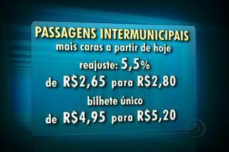 Passagens de ônibus e vans intermunicipais estão mais caras a partir desta quarta (2) - O reajuste autorizado pelo Detro é de 5,05%, com isso, a tarifa passa de R$ 2,65 para R$ 2,80. E o novo valor do bilhete único intermunicpal, sobe de R$ 4,95 para R$ 5,20.