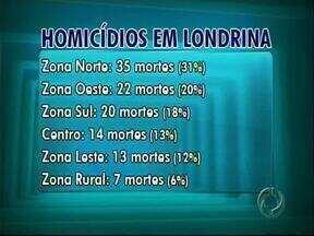 Taxa de homicídios de Londrina é maior do que em SP e RJ - Ano passado foram 111 mortes na cidade, 17% a mais do que 2011.