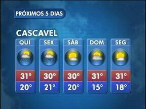 Meteorologia indica pancadas de chuva para Cascavel - O tempo deve ficar mais instável até sexta-feira.