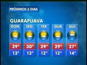 O domingo será ensolarado na região de Guarapuava - Não existe previsão de chuva. As temperaturas ficam elevadas. A máxima deve chegar a 29 graus na cidade.