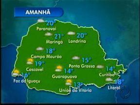 Domingo terá tempo chuvoso e temperaturas amenas - Semana começa com sensação de frio na região