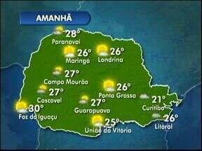 Previsão de tempo aberto na maior parte do estado amanhã - Chove principalmente na região de Curitiba e no Litoral