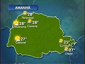 Sol e tempo seco na região noroeste - Na terça-feira (26) ainda há previsão de pancadas rápidas de chuva entre Cianorte e Paranavaí. Mas no resto da semana, deve fazer sol e calor.