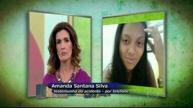 Testemunha relata briga em ônibus - Amanda está no hospital se recuperando do acidente