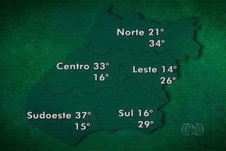 Confira a previsão do tempo para essa semana em Goiás - Somente no norte do estado há previsão de chuva. Nas outras regiões, sol quente, mas as temperaturas já estão um pouco mais amenas.