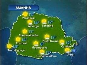 Sol predomina no sábado em todo o Paraná - Veja a previsão do tempo no mapa.