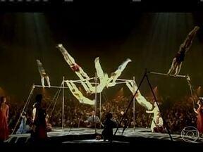 Cirque du Soleil traz o maior espetáculo da Terra ao Brasil - O Cirque du Soleil vai passar por cinco cidades brasileiras com um palco que gira em 360º. 'Corteo' é o maior espetáculo do Cirque du Soleil em exibição hoje no mundo. São 60 artistas que se apresentam durante mais de duas horas.