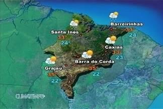 Veja como fica a previsão do tempo para este sábado (11) - O sábado é com pancadas de chuva e muitas nuvens no litoral, no norte e oeste do Maranhão. As chuvas podem ser de forte intensidade acompanhadas por raios.