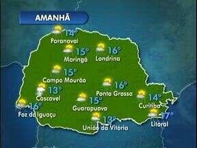 Domingo com muitas nuvens em todo o Paraná - Há previsão de pancadas isoladas de chuva em todas as regiões do estado.