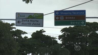 Sinalização que indica caminho para a Arena Pernambuco é reforçada - Novos mapas e placas de trânsito ajudam a chegar mais facilmente ao estádio e a pontos turísticos do estado.