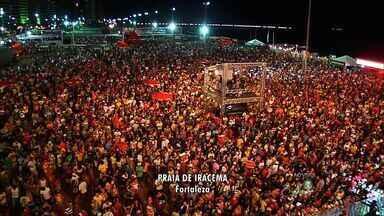 Após o jogo a torcida faz a festa na Praia de Iracema - Bandas de Axé e Forró comandam as festividades.