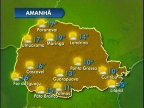 Confira a previsão do tempo para o oeste e o sudoeste do estado - Amanhã a frente fria se afasta e o ar seco ganha força e garante um dia de tempo aberto no Paraná. A quarta-feira começa com 16 na fronteira e 11 em Palmas.