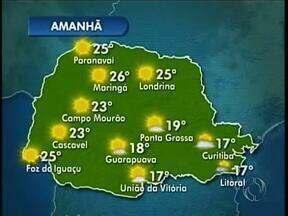 A previsão é de sol para os próximos dias na região de Maringá - A temperatura máxima chega aos 26 graus