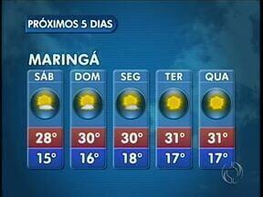 Fim de semana ensolarado na região de Maringá - No domingo as temperaturas chegam aos 30 graus