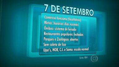 Veja o que abre e o que fecha no feriado de 7 de setembro em Belo Horizonte - Na capital, trânsito vai sofrer alterações por causa do desfile.