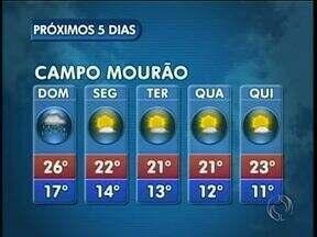 Previsão de tempo instável nesse domingo na região de Maringá - Em Campo Mourão as temperaturas caem um pouco no começo da semana