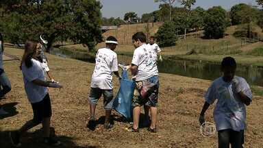 Voluntários fazem mutirão para limpar orla da Lagoa da Pampulha em BH - Estudantes participaram da ação