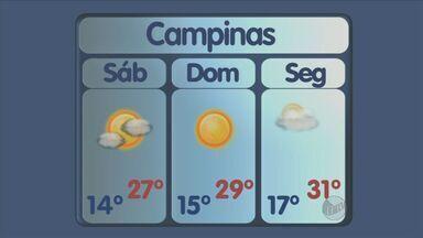 Confira a previsão do tempo para este domingo (20) em Campinas, Piracicaba e regiãio - Com o início do horário de verão, o domingo (20) será de bastante sol e calor em toda a região. Não há previsão de chuvas e com isso as famílias poderão aproveitar o dia para passeios ao ar livre.