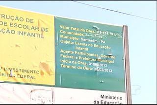 Obras de posto de saúde e creche estão paradas em Santarém - No bairro Santo André, em Santarém, as obras de um posto de saúde e de uma creche estão paradas. Segundo moradores do bairro, o posto de saúde está servindo de abrigo para marginais. A creche deveria ter ficado pronta no início de 2013.