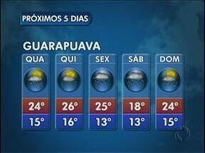 A quarta-feira vai ter sol e chuva em Guarapuava - O sol vai alternar com pancadas de chuva e possíveis trovoadas. As temperaturas permanecem mais altas.