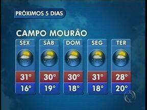 Tem previsão de chuva na região de Maringá para os próximos dias - Em Campo Mourão a temperatura máxima varia entre 30 e 31 graus até segunda-feira