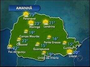 Sábado com tempo abafado nos Campos Gerais - Também há previsão de chuva.