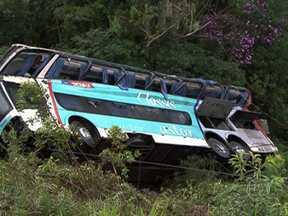Doze pessoas machucadas no acidente na Régis Bittencourt ainda estão internadas - Uma delas está na UTI. O acidente com ônibus que saiu de Curitiba e ia pro Rio de Janeiro matou 15 passageiros. Metade dos feridos está no Hospital Geral de Itapecerica da Serra.