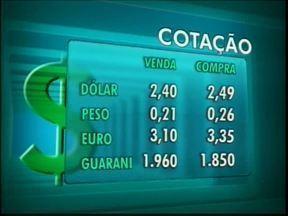 Confira a cotação das moedas nas casas de câmbio de Foz do Iguaçu - O dólar vale R$ 2,40 na venda e R$ 2,49 na compra.