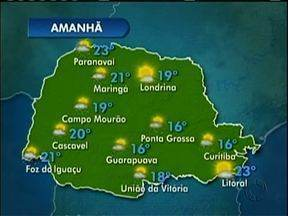 Podem ocorrer pancadas de chuva amanhã em Maringá - Em Campo Mourão o tempo fica aberto a partir de quinta-feira