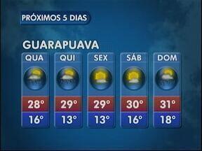 A quarta-feira deve ser ensolarada e quente em Guarapuava - Estão previstas pancadas rápidas e isoladas de chuva à tarde. Em União da Vitória os termômetros podem registrar 31 graus.