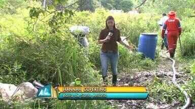 Começou hoje retirada de óleo espalhado em área da Barra de Santo Antônio - Começou hoje a retirada do óleo espalhado numa região de várzea perto do rio Santo Antônio. Segundo o IMA um especialista vai avaliar possibilidade de trocar o solo da localidade.