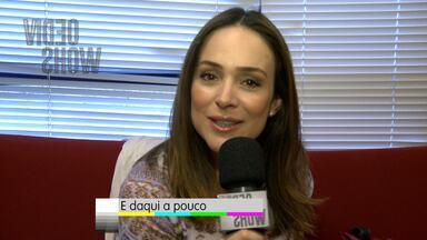 Gabriela Duarte dá susto em Zeca e chega de forma inusitada ao palco - Atriz é a convidada de hoje e faz Zeca Camargo pensar que 'tomou um bolo'