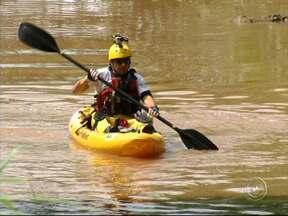 Ecoesportista faz expedição para verificar a água do rio Jundiaí - O ecoesportista Dan Robson está na região para examinar a água do rio Jundiaí. Em cinco dias, ele vai percorrer mais de cento e vinte quilômetros.