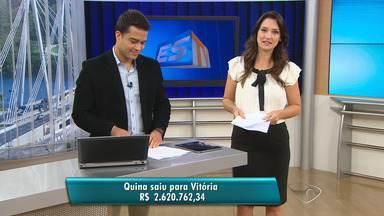 Aposta feita no Centro de Vitória ganha R$ 2,6 milhões na Quina - Caixa disse que o apostador ainda não retirou o dinheiro.Números jogados foram 16-23-24-27-28.