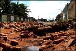 Chuva causa estragos em ruas do Bairro Novo Juazeiro - Bairro fica localizado na cidade de Juazeiro do Norte.
