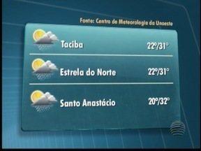 Tempo deve permanecer abafado nesta sexta-feira - Em Santo Anastácio, máxima pode chegar aos 32º C.
