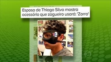 Thiago Silva exibe máscara que usará no PSG após fratura no Campeonato Francês - Zagueiro levou uma cotovelada de Abubakar, do Lorient.
