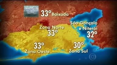 Áreas de instabilidade deixam o tempo nublado no estado do Rio - A segunda-feira (31) será de muitas nuvens e pancadas de chuva isoladas. As temperaturas continuam estáveis, entre 29ºC e 33ºC.