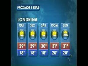 Previsão de sol e calor na região de Londrina - Mas pode chover em boa parte do Estado. Veja na previsão como fica o tempo até o fim de semana.