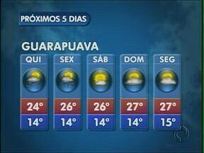A quinta-feira vai ter sol na região de Guarapuava - As temperaturas ficam agradáveis e a máxima prevista é de 26 graus em União da Vitória.