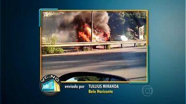 Internauta flagra carro em chamas na Via Expressa, em Belo Horizonte - Segundo ele, outros motoristas tentaram ajudar no combate às chamas.